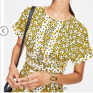 Boden Esmeralda Mimosa Yellow Spot Midi Dress